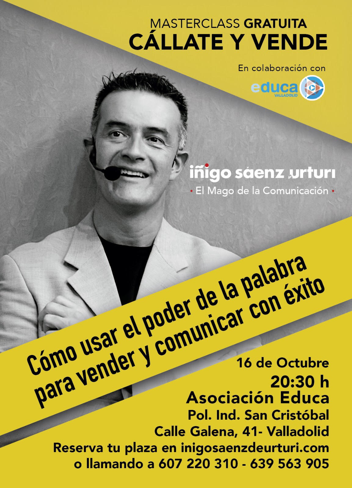 """Masterclass """"Cállate y Vende"""" con Iñigo Sáenz de Urturi"""